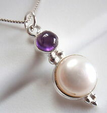Purple Amethyst Cultured Pearl Pendant 925 Sterling Silver Double Gem Stone New