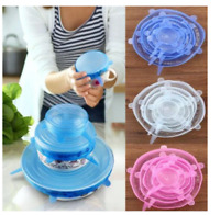 6 X Super Stretch Lids Silicone Bowl Covers Universal Food Covers Lids Easy Fit
