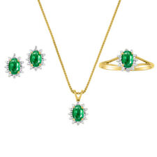 Emerald & Diamond Pendant, Earrings & Ring in 14k  Yellow Gold Plated silver