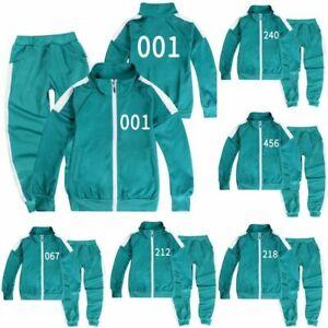 Kids Boys Girls Squid Game Cosplay Sports Jacket Sweatshirt Coat Pants Outfit UK
