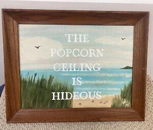 Vintage Oil Painting Popcorn Ceiling Hideous Real Estate Interior Decorator Art