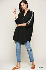 BLUHEAVEN by UMGEE BLACK Trim Detail Button OVERSIZE Tunic Shirt/Top/Blouse BHCS