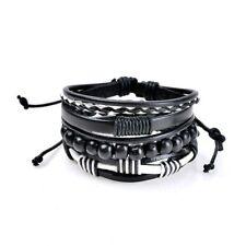 Multilayer Bracelet Men Casual Braided Leather Bracelets For Women Wood C6E6