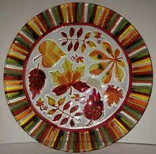 New Ganz Glass Serving Tray Platter Fall Autumn Leaves Kitchen Decor
