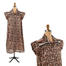 Vintage 70s Serbin Black + Taupe Floral Wave Novelty Print Shift Day Dress XL