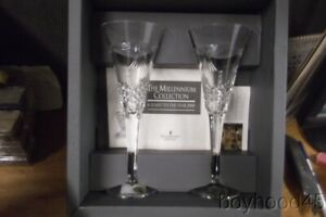 Waterford Millenium Collection-TOAST TO THE YEAR 2000-PEACE TOASTING FLUTES