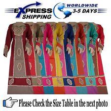 Islamic Egypt Cotton Abaya Embroidery Jilbab Dress Kaftan Muslim Galabya Hijab