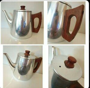 Midcentury Stainless Steel Teak Teapot Sona  60s 70s