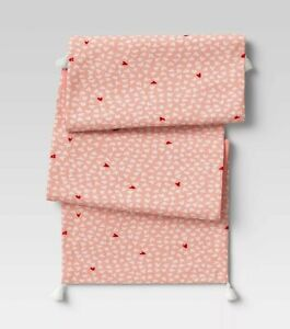 Opalhouse Table Runner New Tassels Cotton Pink Red White Hearts 14x72 inches