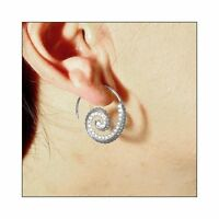 14K WHITE GOLD OVER 925 STERLING SILVER SPIRAL DESIGN EARRINGS W/ LAB DIAMONDS
