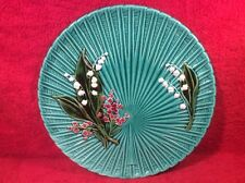 Beautiful Teal Green German Majolica Lily of the Valley Platter, gm925