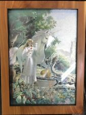 "Girl With Unicorn Printed Wooden Jewelry Box. 8x6"" Brand New."