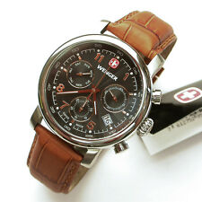 NEW $275 GENTS WENGER 43MM BLACK/ROSE GOLD URBAN CLASSIC CHRONO WATCH #1043.103