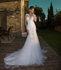 New White/Ivory Mermaid Wedding Dress Bridal Gown Custom Size: 6-8-10-12-14-16++