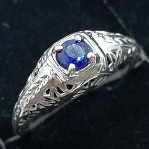 Antique Filigree .25ctw Blue Sapphire 925 Sterling Silver Ring Size 4