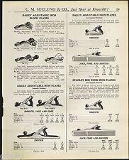 1921 ADVERT 6 PG Stanley Bailey Tool Planes Bed Rock Belt Maker