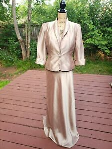 Cachet women's 2 Piece Beaded Brown Spaghetti Straps Formal dress size 10 S88