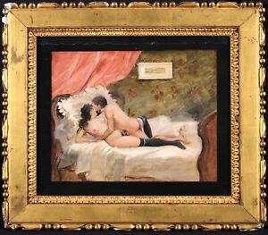 19th CENTURY FRENCH IMPRESSIONIST EROTIC OIL - TWO LOVERS ON BED - RARE