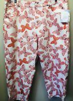 "New Liz Claiborne Womens 16 Pink Butterfly ""Audra"" Crop Capri Cotton Twill Pants"