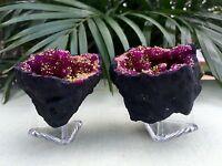 Pink Geode Pair Open Split Crystal Specimen Morocco Geode Reiki Chakra Wicca.