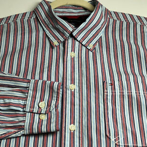 Tommy Hilfiger Men Long Sleeve Button Up Shirt XL Multicolor Stripes Pocket Logo