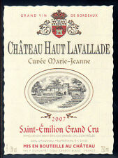 Étiquette Château HAUT LAVALLADE. 2007. SAINT-EMILION Grand CRU