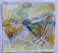 Feldweg mit Bäumen Norddeutschland Expressiv J.E. Aquarell