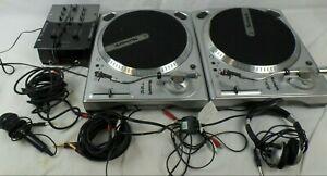 Pair of Numark TT1610 DJ Turntables and a Numark DM950 Mixer. + Headphones & Mic
