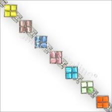 19cm Magnetic Hematite Alloy Link with Multi Colour Moonstones Bracelet / Bangle