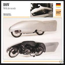 1937 BMW 500cc K Speed Record-Breaker Motorcycle Photo Spec Sheet Info Stat Card