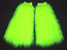 Neon yellow fluffies moelleux fourrure jambières boot cover