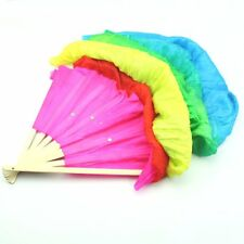 Hand Made Belly Dance Dancing Silk Bamboo Long Fans Veils For Folk Dance 1.8m AD
