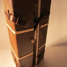 Dollhouse miniature brown shipping trunk/suitcase with 4 drawers ~ 1/12 scale