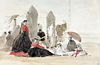 Crinolines and Cabins by French  Eugène Boudin. Canvas Wall Art.  13x19 Print