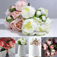 Real Touch Rose Peony Wedding Bridal Bouquet Home Decor Artificial Fake Flowers