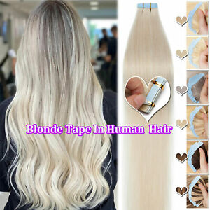 US 150G Full Head Thick Tape in Real Remy Human Hair Extensions Skin Weft Blonde