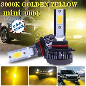 1Pair 3000K Yellow 9006 HB4 LED Headlight Kit Fog light Low Beam Led Bulbs