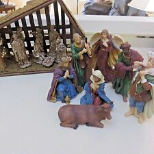 Unbranded Nativity Scene 2 Sets of Figures & Moss Covered Barn 15 Pieces Holiday
