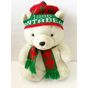 Santa Bear 1986 Dayton Hudson Stocking Hat Macys Scarf Plush Stuffed Animal