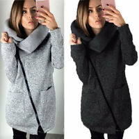 Women Winter Casual Hoodies Jacket Coat Long Zipper Sweatshirt Ladies Outwear US