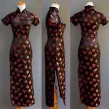 Vintage Ceñido Cheongsam Dragon Mujer Pin Up Negro Satén Rojo Asian Personajes