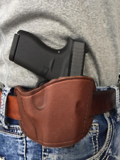Right handed brown leather gun holster for Dan Wesson TCP