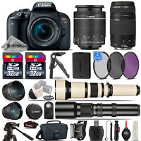 Canon EOS Rebel T7i SLR Camera 800D + 18-55mm + 75-300mm III Lens - 64GB Kit