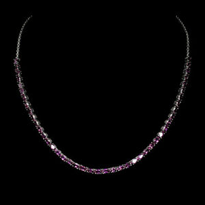 Oval Red Ruby 5x3mm 14K White Gold Plate 925 Sterling Silver Necklace 18.5 Ins
