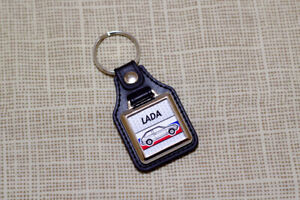 Lada Samara Keyring - VAZ-2108 Leatherette and Chrome Keytag