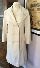 Vintage 60s 70s Mod Beige Polyester Doubleknit Butterfly Collar Trench Coat S/M