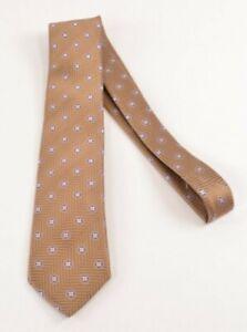 Geoff Nicholson NWT Silk Neck Tie In Light Brown W/ Pink Floral Medallions