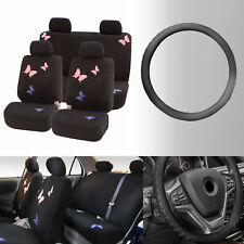 Butterfly Car Seat Covers for Auto SUV with Leather Steering Wheel Cover