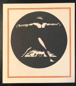 Rockwell Kent ex Libris Bookplate - Art Deco Nude Man Raised Arms - Unused WPA