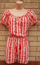 PRIMARK RED WHITE SILKY FEEL FLORAL BARDOT SUMMER PLAYSUIT ALL IN ONE 12 M